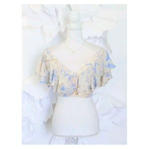NWT Free People Off Shoulder Ruffle Crop Top 6 M
